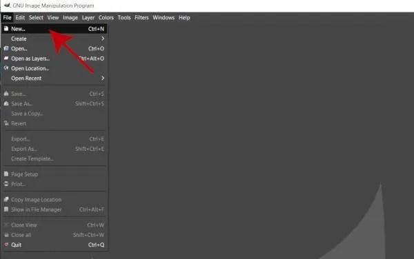 GIMPで新しいレイヤを作成するためにFile Newから始めてください