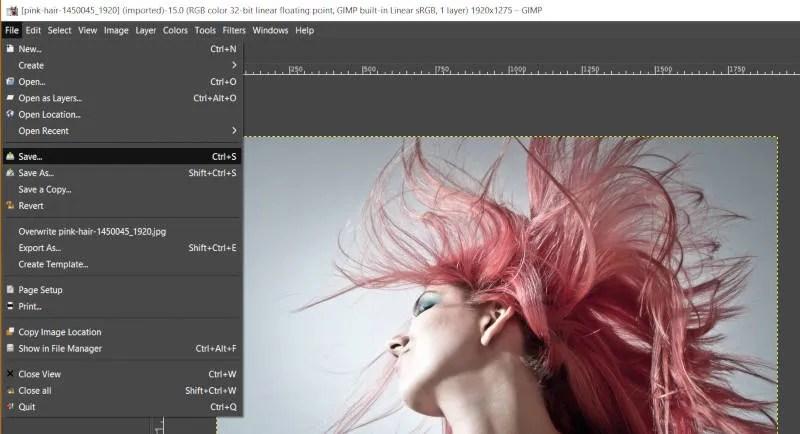 ファイル保存JPEG GIMPチュートリアル
