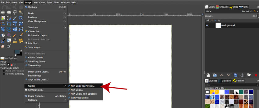 Image Guides New Guide by Percent GIMP 2 10 10