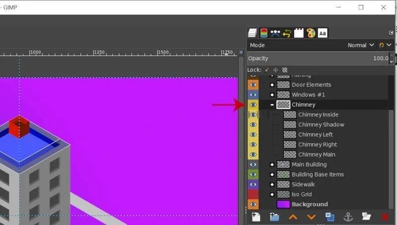 Slāņu grupas ar krāsu atzīmēm GIMP