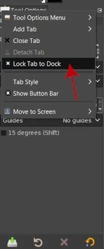 Opciones de la herramienta de la característica Bloquear pestaña al muelle GIMP