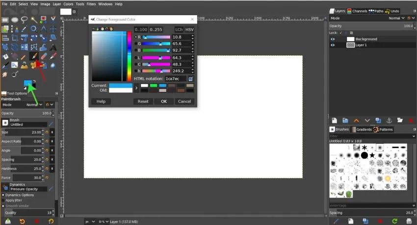Auswählen von Pinsel und Vordergrundfarbe GIMP 2 10 12