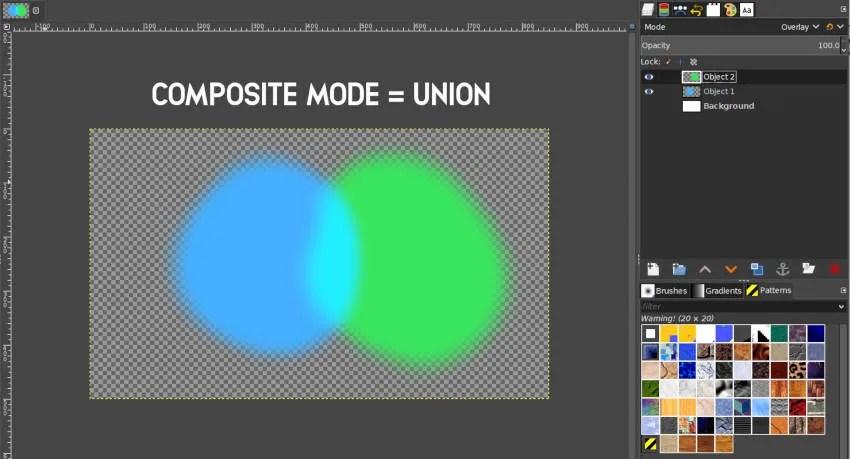 Savienojuma kompozīta režīms GIMP 2 10