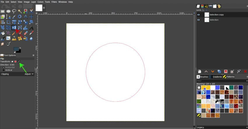 Use the Flip Tool to Flip a Path in GIMP 2 10 10