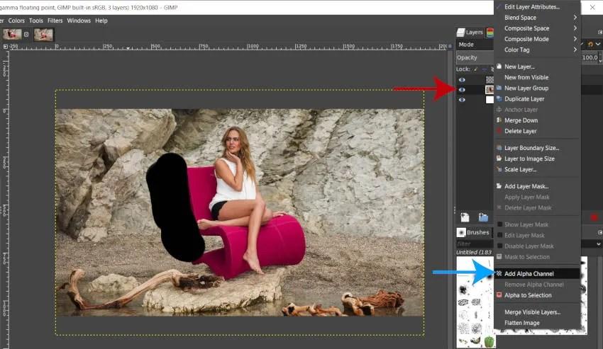Lisage GIMP 2 10i kihtidele Alpha kanal