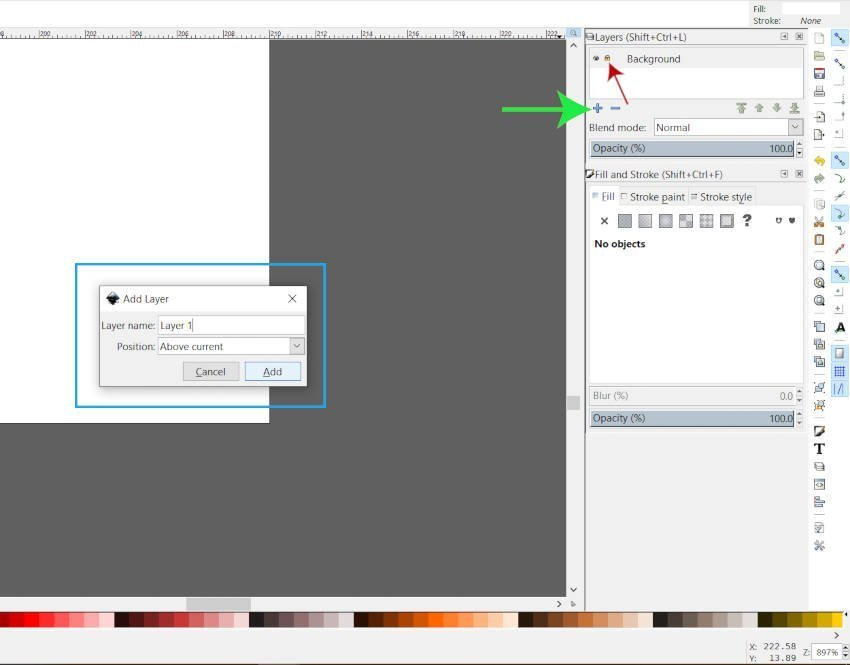 Add a New Layer Dialogue in Inkscape