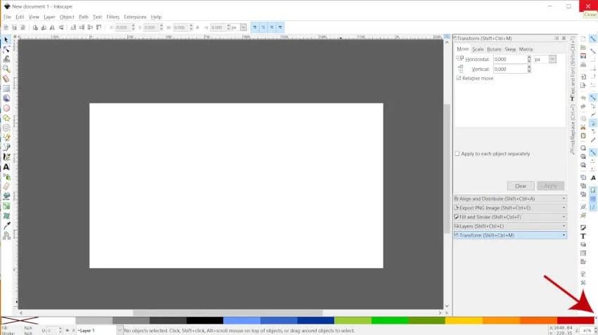 Klepněte na nabídku Vzorník v aplikaci Inkscape