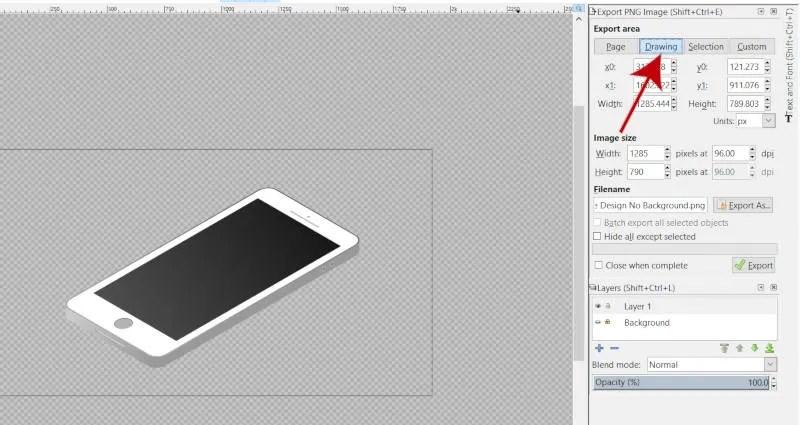 Exportterület rajzolása az Inkscape-ben