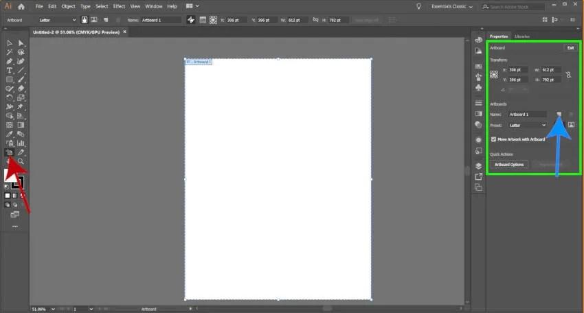 Rediģēt Adobe Illustrator Artboard