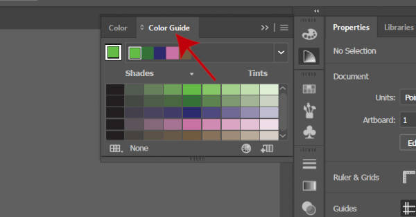 لوحة ألوان دليل الألوان في Illustrator
