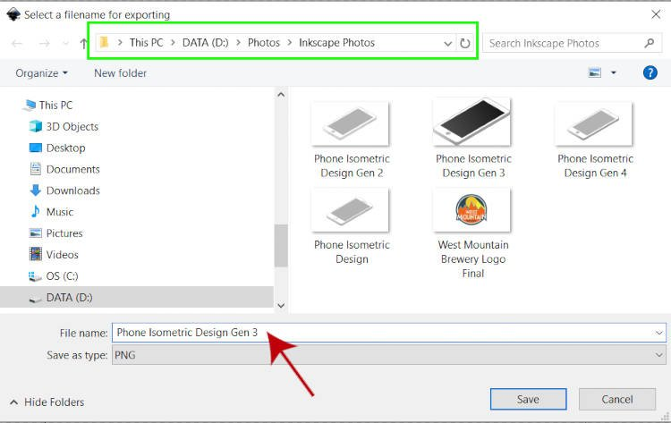 Inkscape File Explorer Esportazione in PNG