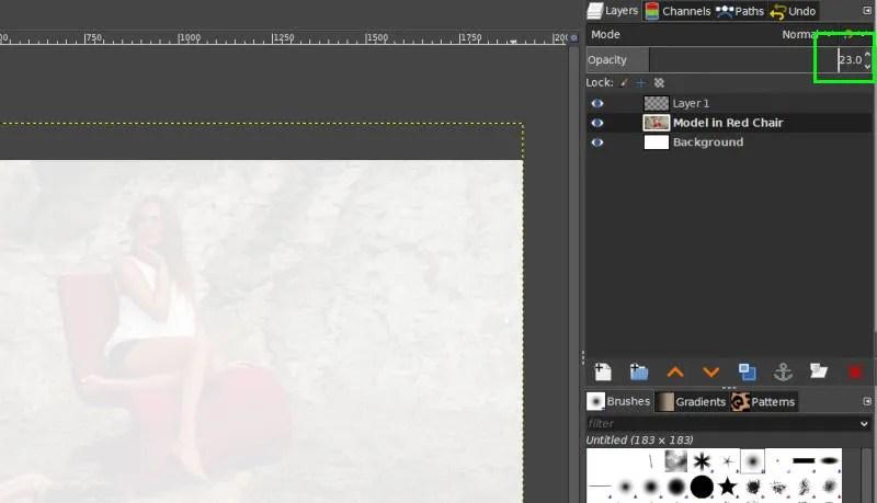 Muutke käsitsi läbipaistmatuse liuguri väärtust käsitsi GIMPis