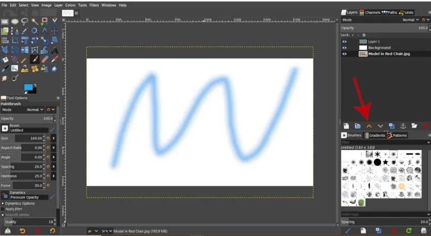 परत GIMP के रूप में परत चिह्न खोलें उठाएँ