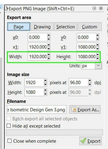 Breite an Héicht Inkscape Export Png-Biller