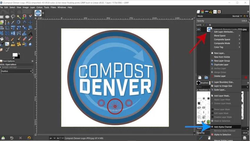 Lägg till alfakanal till logotyp JPEG i GIMP