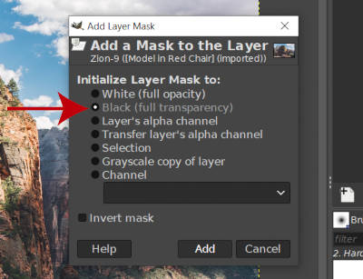 Add Layer Mask Dialogue Black Full Transparency