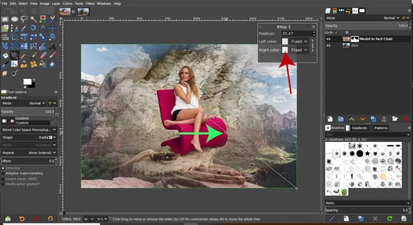 Vodič za podešavanje gradijentne stop boje GIMP maske sloja