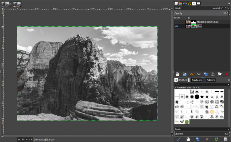 Black and White Image Layer Mask in GIMP