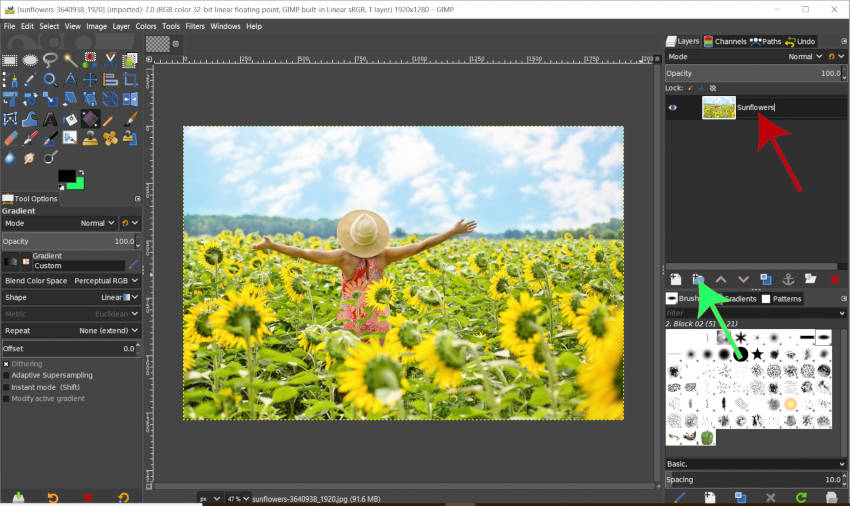 Create a New Layer Group in GIMP