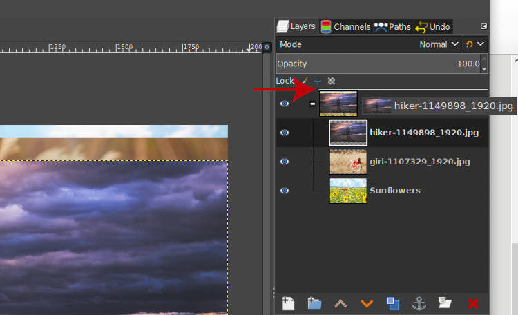 Drag a Layer Outside a GIMP Layer Group