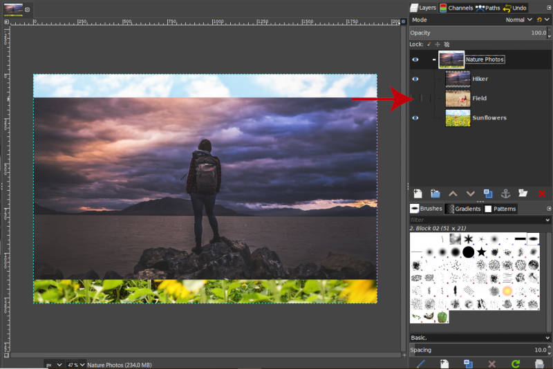 Hide Individual Layers in a GIMP Layer Group