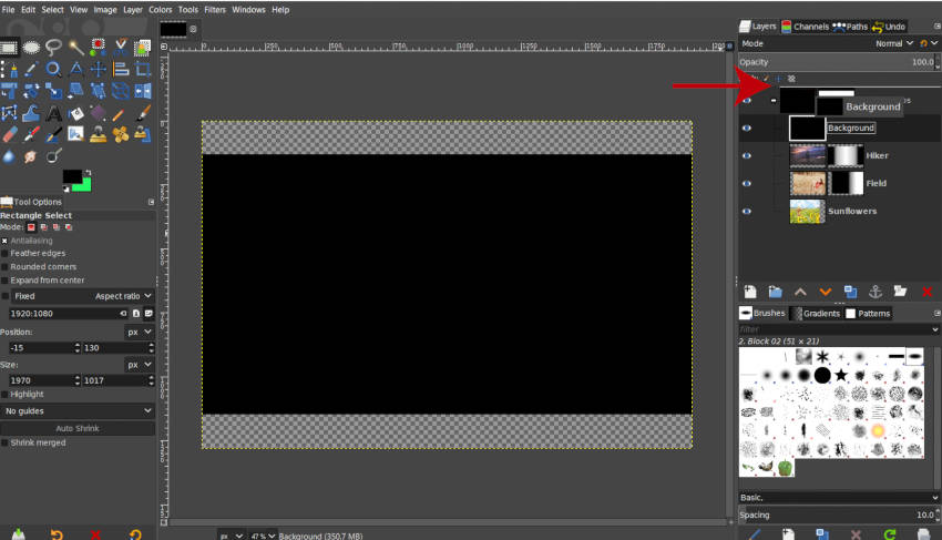 Move Your New Layer Outside the GIMP Layer Group