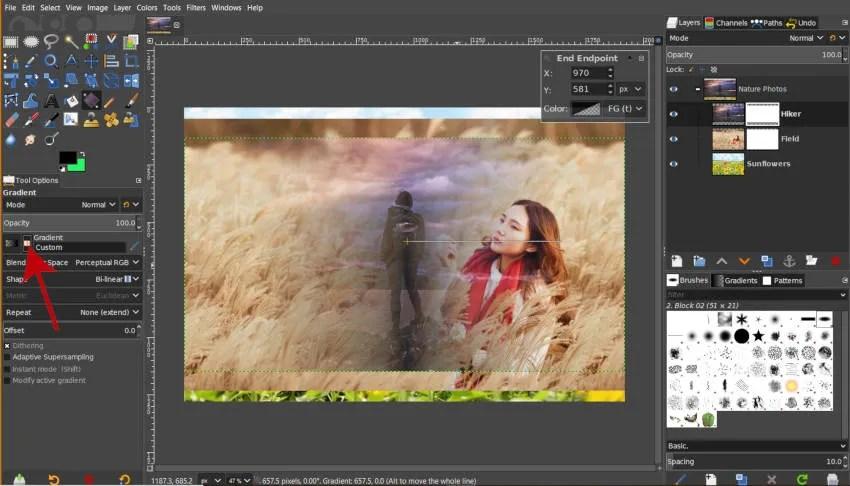Pictograma Gradient Revers Măsurile grupului stratului GIMP