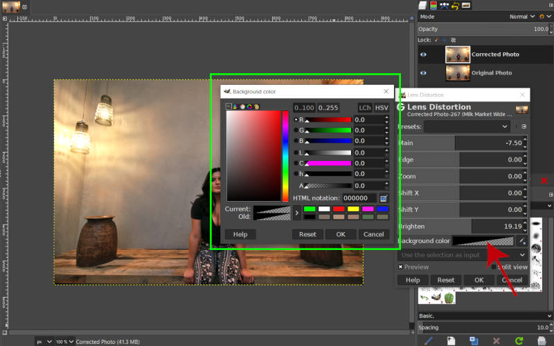 Background Color Lens Distortion Filter