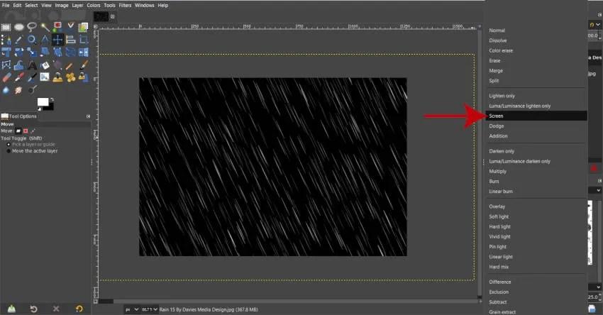 Promijenite sloj efekta kiše u način sloja zaslona