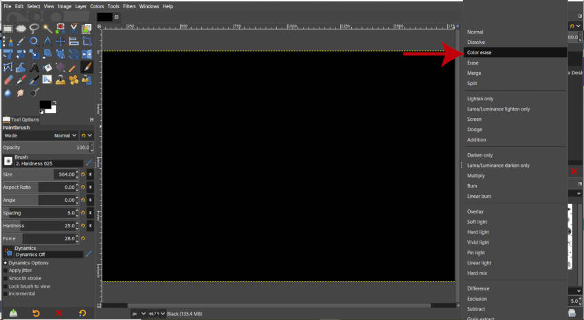 Color Erase Layer Режим Fog Filter GIMP