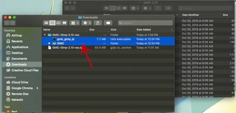 GIMP के लिए सभी GMIC प्लगइन फाइल का चयन करें