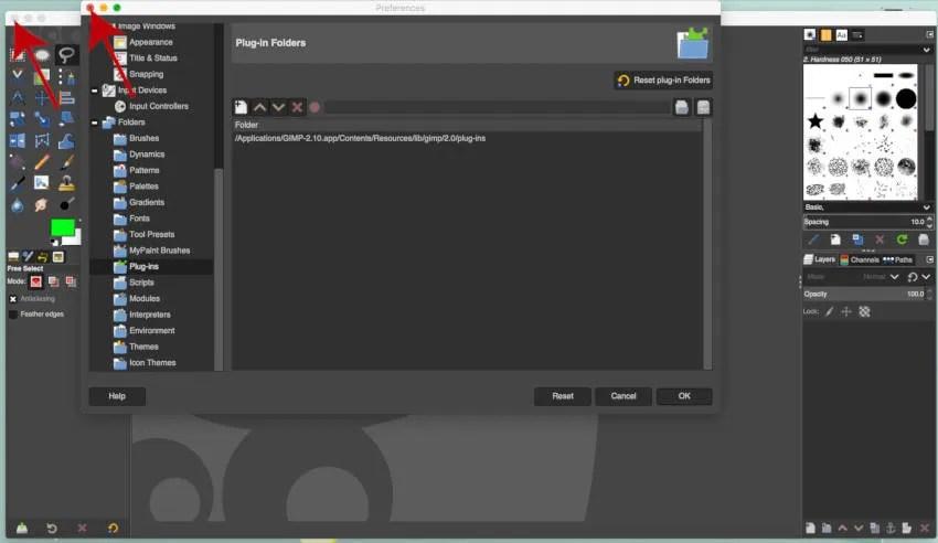 Zamknij i ponownie otwórz GIMP, aby zainstalować wtyczkę dla MAC