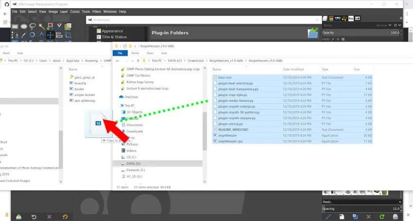 GIMP 2 10 में स्थापित करने के लिए Resynthesizer Plugin फ़ाइलें खींचें