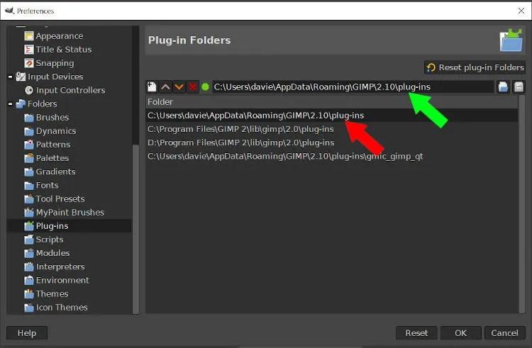 Seleziona cartella plugin GIMP 2 10 14