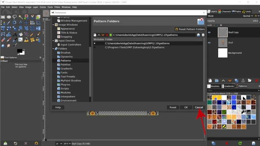 Quitter la boîte de dialogue Préférences GIMP 2 10 14