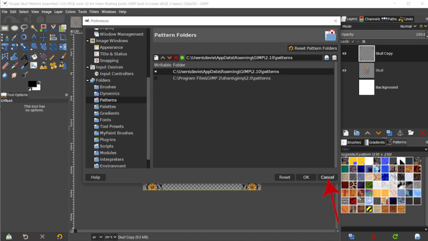 Izhod iz nastavitvenega dialoga GIMP 2 10 14