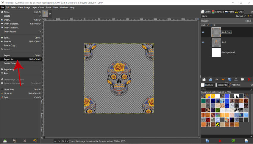 Exporting Patterns in GIMP 2020