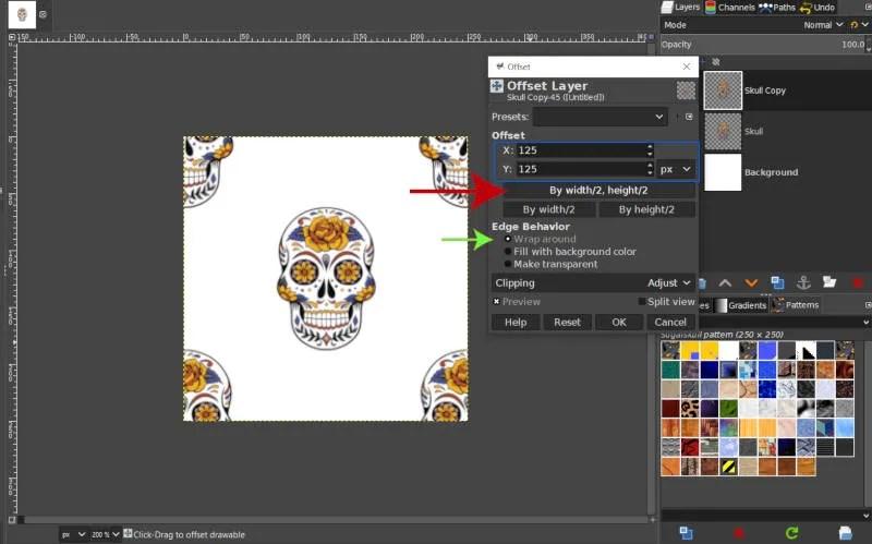 Paramètres de l'outil de décalage des motifs GIMP