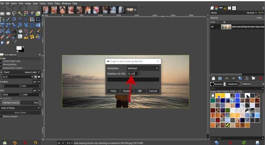 Вертикално ръководство 33 Процент GIMP инстаграм урок за разделяне