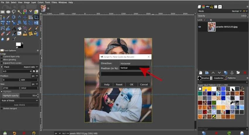 Вертикално ръководство за Instagram Split GIMP урок