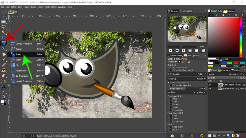 Access the Scale Tool in GIMP 2 10 18 Tutorial