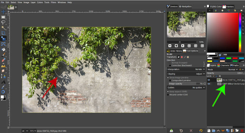 Alt Klicka för att välja Alpha GIMP 2 10 18