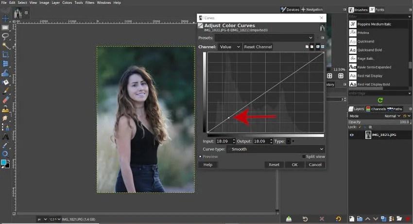 घटता हिस्टोग्राम GIMP 2 10 18 पर एक नोड बनाएं