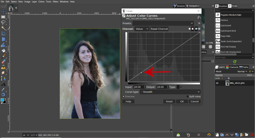 Crear un nodo en el histograma de curvas GIMP 2 10 18