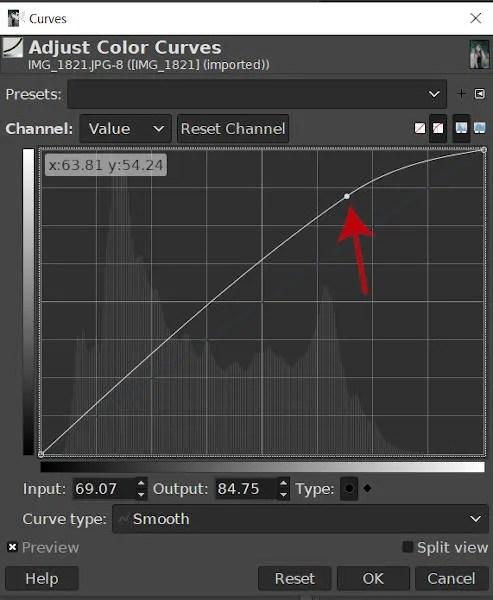 कर्व्ड नोड GIMP 2020 कर्व्स टूल बनाना