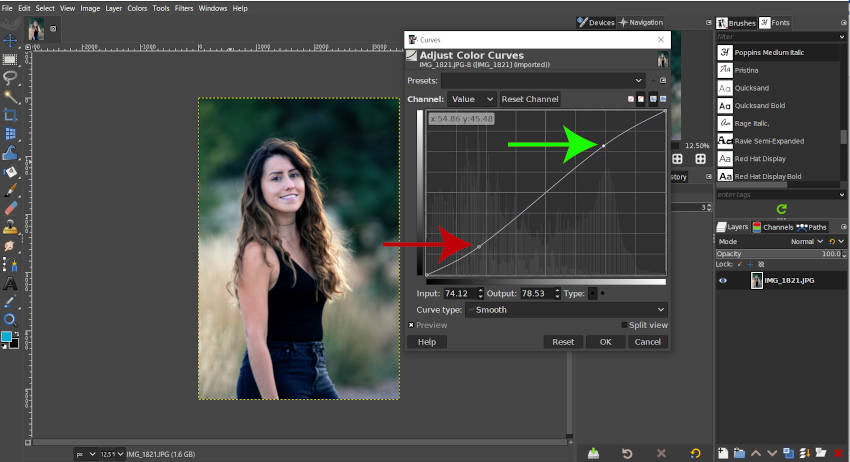 Creating an S Curve for Contrast in GIMP