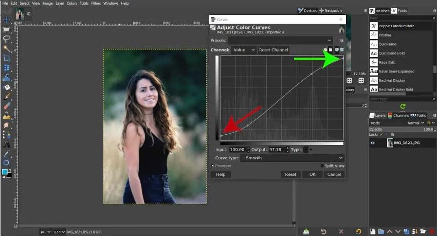 Flatten Curve for Less Contrast GIMP