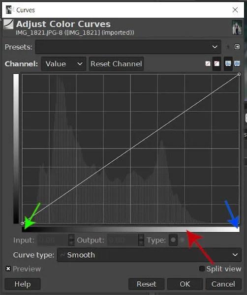 GIMP घटता उपकरण इनपुट रेंज स्नातक