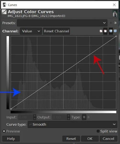 Herramienta de curvas GIMP de curva lineal e histograma