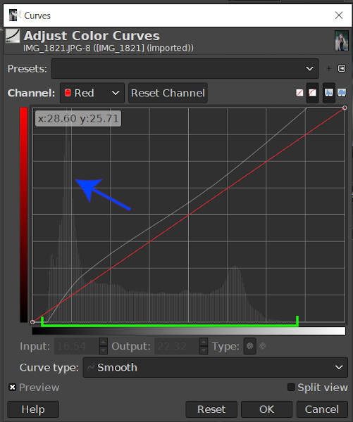 Skewed Red Curve with Spike GIMP 2020 Tutorial